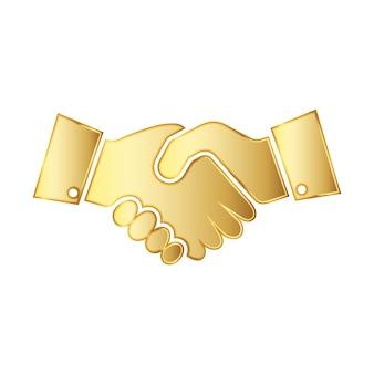 Ilustração do ícone de aperto de mão dourado