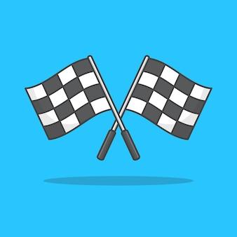 Ilustração do ícone de bandeira de corrida quadriculada cruzada