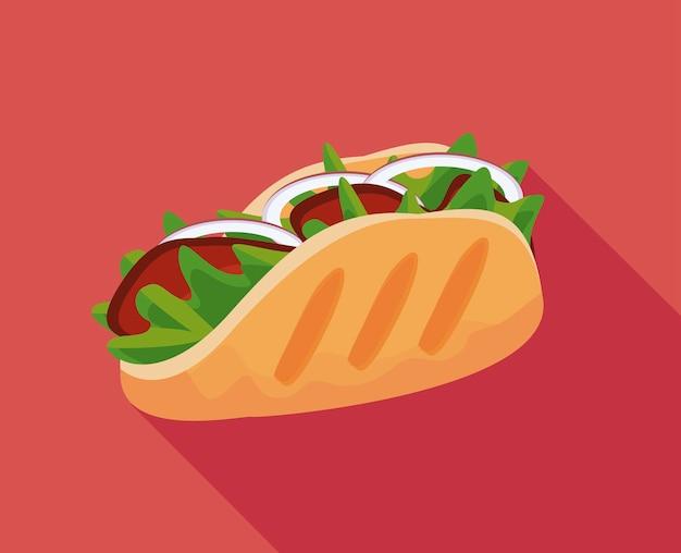 Ilustração do ícone de burrito mexicano delicioso fast food