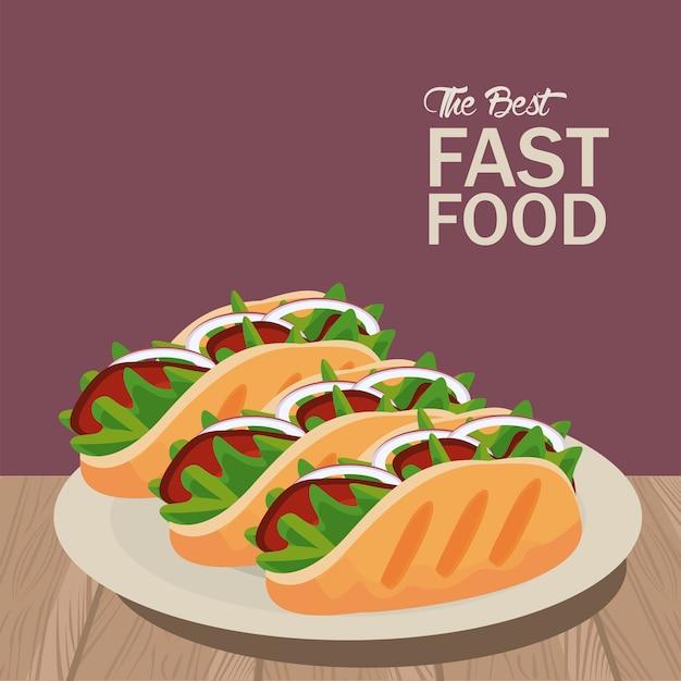 Ilustração do ícone de burritos mexicanos em prato delicioso fast food