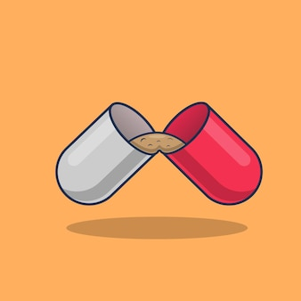Ilustração do ícone de cápsulas de medicamento