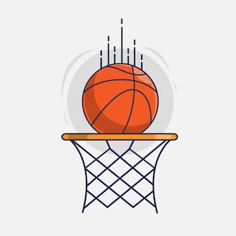 Ilustração do ícone de cesta e bola de basquete
