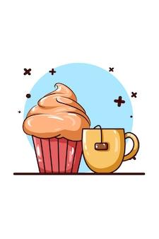 Ilustração do ícone de chá e panqueca