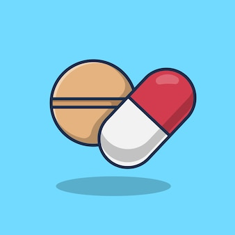 Ilustração do ícone de comprimido e cápsula de medicamento