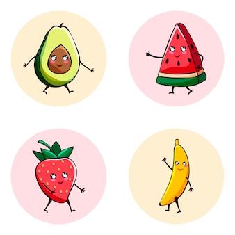 Ilustração do ícone de conjunto de frutas kawaii