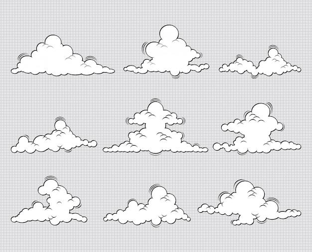 Ilustração do ícone de conjunto de nuvens