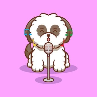 Ilustração do ícone de desenho animado bonito do filhote de cachorro shih-tzu canta uma canção