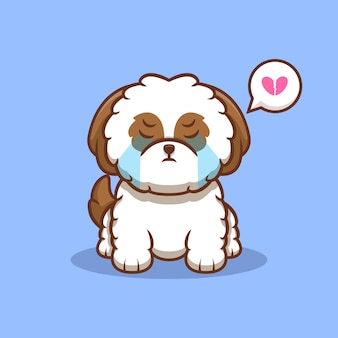 Ilustração do ícone de desenho animado bonito do filhote de cachorro shih-tzu chorando