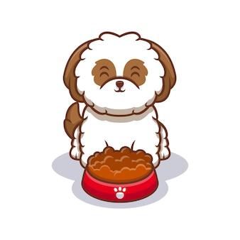 Ilustração do ícone de desenho animado bonito shih-tzu pronto para comer comida