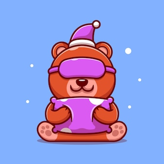 Ilustração do ícone de desenho animado bonito urso dormindo com travesseiro