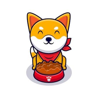 Ilustração do ícone de desenho animado de cachorro shiba inu fofo comendo comida