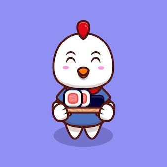Ilustração do ícone de desenho animado de frango fofo e rolinho de sushi