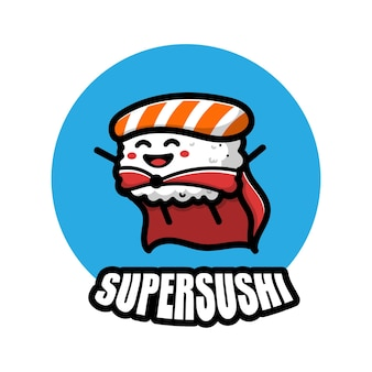 Ilustração do ícone de desenho animado de super-sushi super fofo