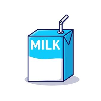 Ilustração do ícone de desenho animado de uma caixa de leite
