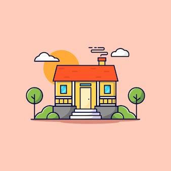 Ilustração do ícone de desenho animado de uma casa
