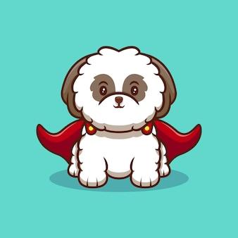 Ilustração do ícone de desenho animado fofo do filhote de cachorro super shih-tzu vestindo capa