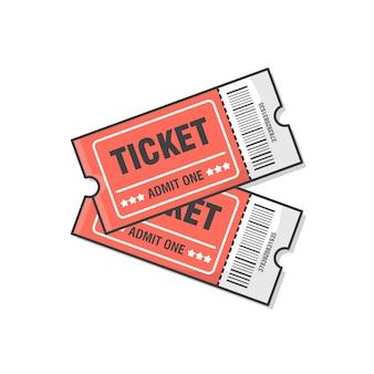 Ilustração do ícone de dois bilhetes. ingresso para entrada no evento