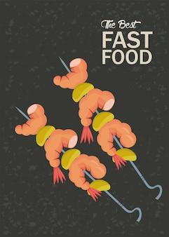 Ilustração do ícone de espetos de camarão delicioso fast food