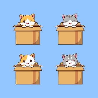 Ilustração do ícone de gato fofo escondido na caixa