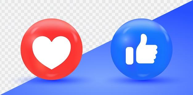 Ilustração do ícone de gosto e amor do facebook isolada