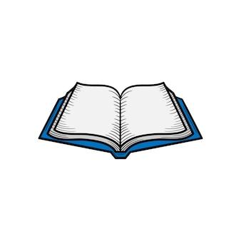 Ilustração do ícone de mão desenhada de livro aberto isolada