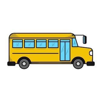 Ilustração do ícone de mão desenhada de ônibus escolar isolada
