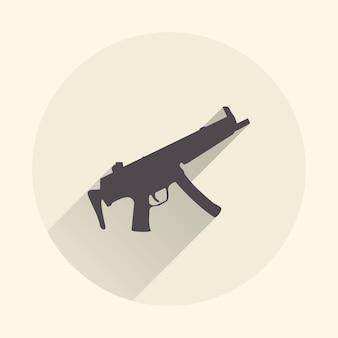 Ilustração do ícone de metralhadora. imagem criativa e retro