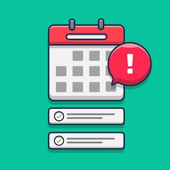 Ilustração do ícone de notificação de programação no calendário