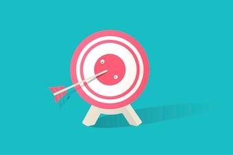 Ilustração do ícone de placa de dardo no fundo azul