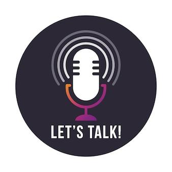 Ilustração do ícone de rádio microfone de mesa de estúdio com texto vamos conversar