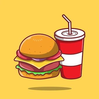 Ilustração do ícone de refrigerante e hambúrguer