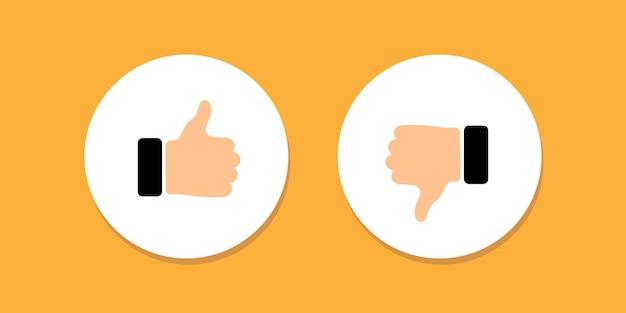 Ilustração do ícone de sinal de polegar para cima e para baixo