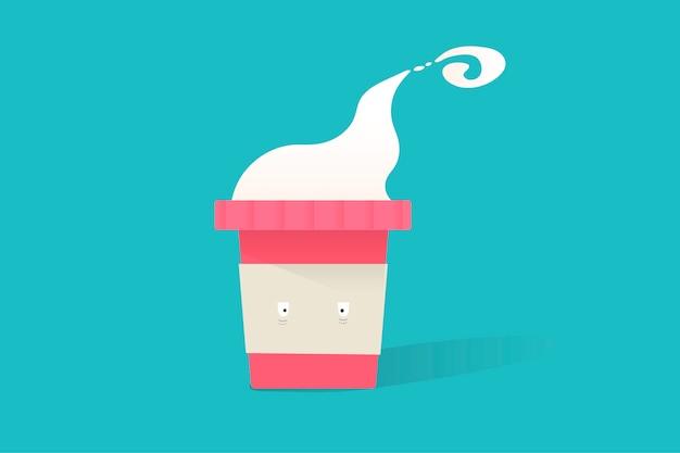 Ilustração do ícone de xícara de café quente no fundo azul