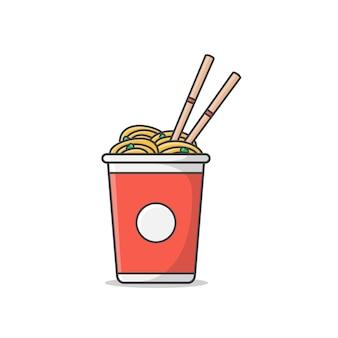 Ilustração do ícone de xícara de macarrão com ovos cozidos e pauzinhos