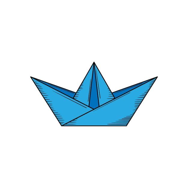 Ilustração do ícone desenhada à mão de origami de barco de papel isolada