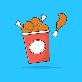Ilustração do ícone do balde de frango frito. ícone plano de frango frito