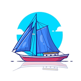 Ilustração do ícone do barco à vela. conceito de ícone de transporte aquático.
