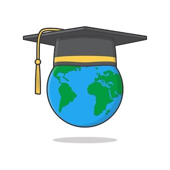Ilustração do ícone do boné da formatura no topo do globo
