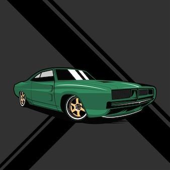 Ilustração do ícone do carro clássico.
