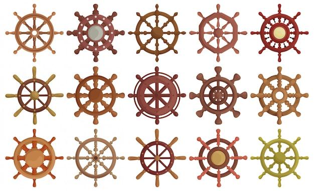 Ilustração do ícone do conjunto de desenhos animados da roda do navio. leme do ícone da coleção dos desenhos animados de sh [pág. ilustração isolada de conjunto de barco de roda no fundo branco.