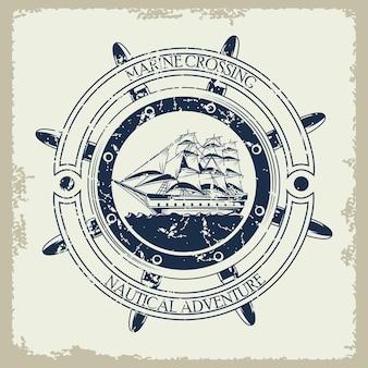 Ilustração do ícone do emblema vintage cinza náutico em veleiro retrô