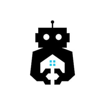 Ilustração do ícone do logotipo automático do vetor da casa do robô em casa ciborgue