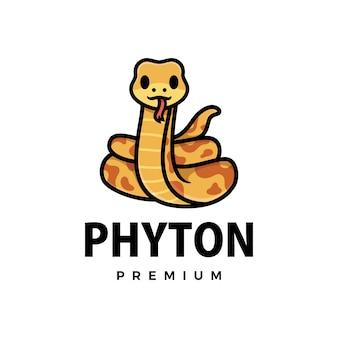 Ilustração do ícone do logotipo bonito do desenho animado phyton