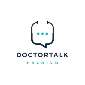 Ilustração do ícone do logotipo da conversa do médico