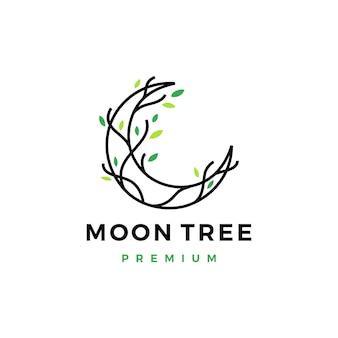 Ilustração do ícone do logotipo da folha da raiz crescente da árvore da lua