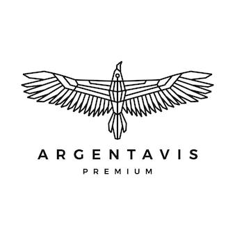Ilustração do ícone do logotipo de contorno monolim do pássaro argentavis
