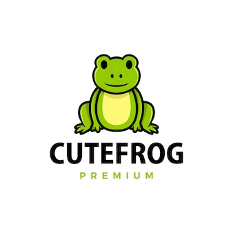Ilustração do ícone do logotipo de desenho animado de sapo fofo