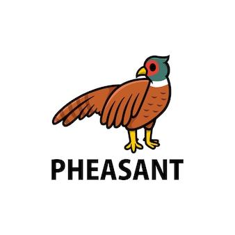 Ilustração do ícone do logotipo de desenho animado faisão