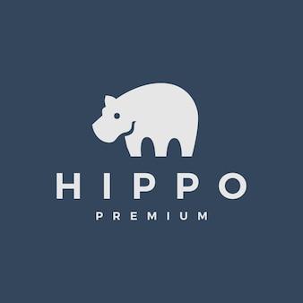 Ilustração do ícone do logotipo de hipopótamo