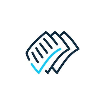 Ilustração do ícone do logotipo de vetor de marca de seleção de papel